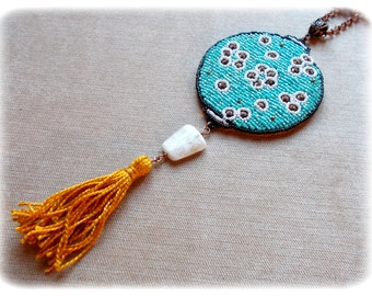 Chinese/Turquoise/Blue/Chinese Lantern necklace / Asian / Asian/Chinese Lantern/Japan / Oriental Inspiration