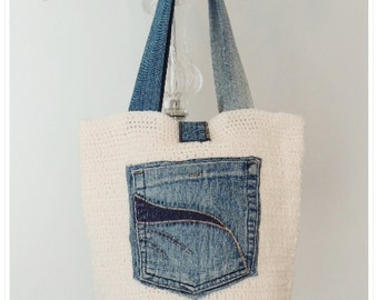 Crochet Bag, Crochet Shoulder Bag, Crochet and Jean Recycle Bag, Summer Bag, Gift for Her