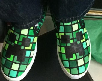 hand painted creeper minecraft shoes airwalk slip ons size 7 womens