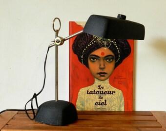 Lampe noire  vintage d'origine suisse années 60