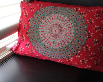 Red Mandala Pillowcase