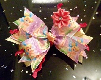 Tinkerbell, Disney Princess Hair Bow Clip's 4inch