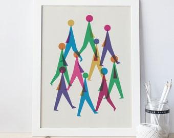 Walking people etsy for Minimal art venezuela