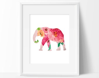 Elephant Floral Art Print -  Wall Decor - Home Decor - Office Decor - Nursery Decor