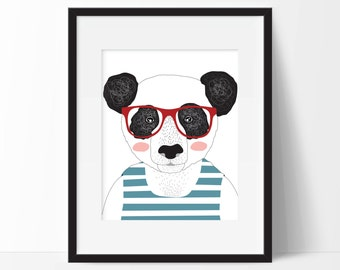 Cool Bear Art Print - Children's Wall Art - Nursery Art  - Modern Decor