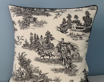 Black toile throw pillow Black and ivory French Country. Farmhouse. Shabby Country Cottage chic. 18x18 toss pillow cover. Decorative pillow.