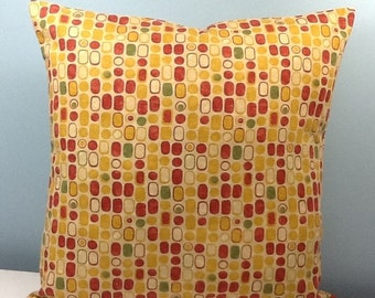 RESERVED FOR JUDY. Mid century modern throw pillow cover. Handmade decorator pillow. Gold & red 60s 70s. Geometric. Zipper option