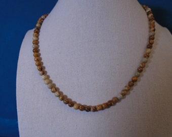 Mens Jasper Stone Necklace, Beaded Necklace, Stone Necklace