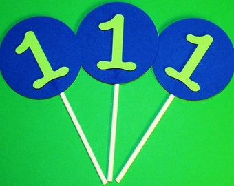 Cupcake Topper, Blue and Lime Green Toppers, Cake Toppers, One Toppers, Cupcake Decorations