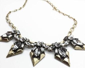 triangle Statement Necklace, boho chic Necklace, Rhinestone Necklace, Wedding necklace, bridesmaids necklace, bib necklace, Crystal necklace
