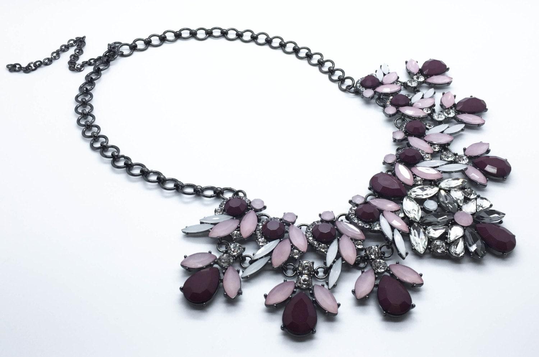 burgundy statement necklace rhinestone necklace by