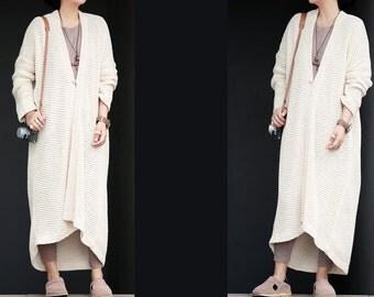 Cream white knit long cardigan coat jacket BonLife