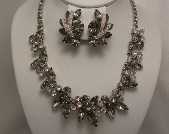 Vintage Signed Weiss Grey & Clear Rhinestone Stacked Demi Necklace, Earring Set