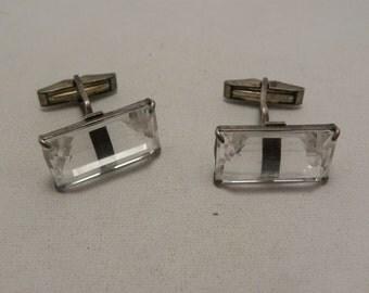 Vintage Sterling & Crystal Cufflinks