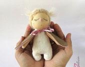 Owl doll toy. Owl cloth doll. Stuffed Owl. Owl ragdoll. Sleeping owl doll. Miniature artdoll. Owl nursery decor. Woodland animal doll.