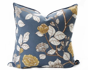 Floral linen pillow cover - Charcoal pillow - Asian pillow - Dark Gray pillow - Gray linen pillow - Gold Floral pillow - Decorative pillow