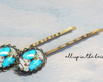 Butterfly Bobby Pins - Blue Butterfly Bobby Pins