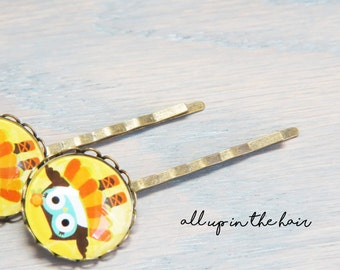 Owl Bobby Pins - Owl Hair Pins - Ballerina Bobby Pins - Yellow Bobby Pins