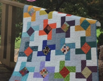 DUTCH WINDMILL Quilt Pattern by Color Girl Quilts - 3 sizes: Full, Twin, or Baby
