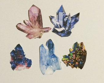Pretty Crystal Cluster Stickers Set Of Five