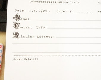 Retro Style, Order forms, Personalised with your logo or name, Notepad A5 - Office supplies, Vintage stationery, Sellers