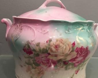 SALE Gorgeous Antique Porcelain Biscuit Jar, Victorian Jar, Pink Roses, Circa 1800's.