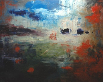 Land of the Free. 48X60 Original abstract landscape oil painting on stretched canvas.