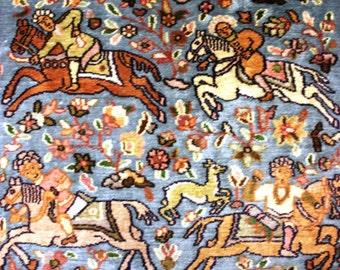 Semi Antique Persian Kaschmir Pictorial Silk Runner 2.5' x 12'
