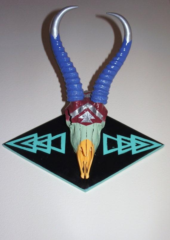 Handpainted Authentic Antelope Skull Wall Art