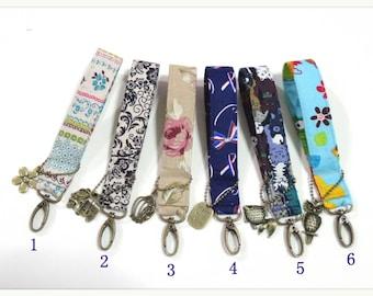 Key Chain /Key Fob Wristlet Keychain - Fabric Fob
