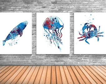 Nautical Art, Whale Art, Jellyfish, Crab, Ocean Life Decor, Limited Edition Set of Three Prints - NS15