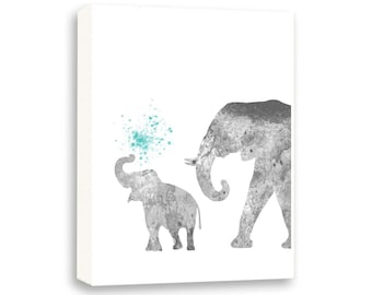 Elephant Wall Art, Watercolor Painting, Kids Wall Art, Nursery Art, Limited Edition Gallery Wrapped Canvas - AS7003C