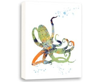 Multicolor Octopus Art, Bathroom Wall Art, Nautical Wall Art, Limited Edition Gallery Wrapped Canvas - NS12001C