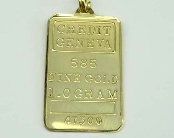 1 Gram 14Kt Gold Credit Geneva Swiss Gold Bar Bullion Charm Pendant