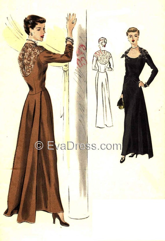 1940s Sewing Patterns – Dresses, Overalls, Lingerie etc 1949 Evening Gown EvaDress Pattern!  AT vintagedancer.com