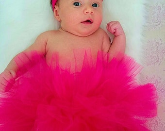 Pink newborn tutu, baby tutu pink, hot pink tutu, baby girl tutu, baby photo prop, gift for baby, newborn photo prop