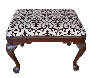 Antique Mahogany Upholstered Bench