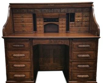 Antique Derby Roll Up Desk Tiger Oak