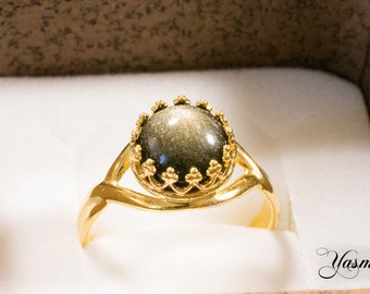 Maharani with Obsidian gold plated