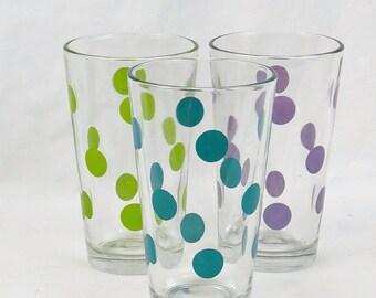 Libbey Dot Pattern Multi-Color Pint Glasses, Set of 3