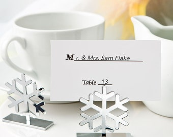 Silver Snowflake Winter Wedding Place Card Holders (Pack of 25) Wedding Reception Supplies