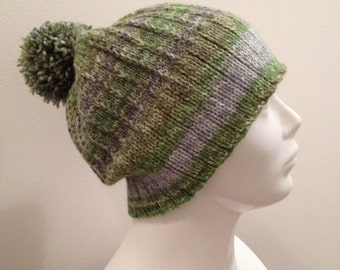 Hand Knit Ribbed Beanie Hat with Pom Pom, Green, Blue, Women's Men's