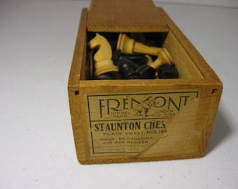 Mid Century Staunton Chess Set Wood  Complete Fremont Co.