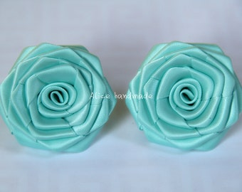 2 Handmade Double Face Satin Ribbon Roses In Aqua blue (2 inches). Ready To Ship.