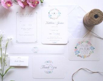 Floral Wedding Invitation Set. Modern Wedding Invites. Quirky Wedding Invitations. Wedding Invitation Sample