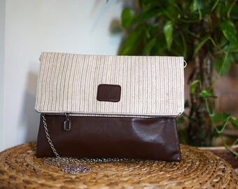 Chic bag made from vintage fabric and leather