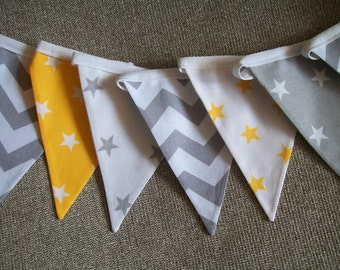Beautiful Cotton Double Sided Bunting - Grey and Yellow Stars and Chevrons- Nursery, Baby Boy, Christening