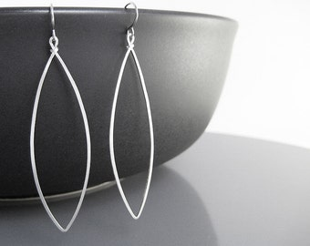 Marquise Earrings - long silver geometric jewelry, modern minimal delicate hoop, lightweight minimalist jewelry