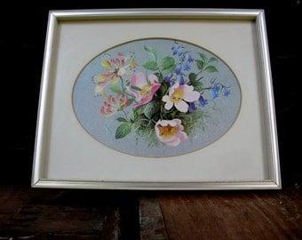 Rose And Honeysuckle Print - Floral Print - Rose Print - Flower Picture - Vintage Picture - Floral Still Life - Shabby Vintage - Honeysuckle