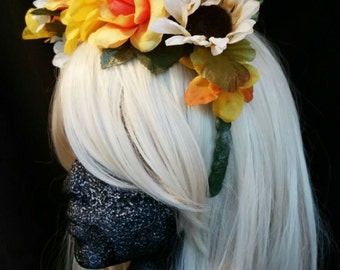 Yellow Floral Demi-Crown